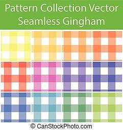 patrón, guinga, vector, seamless, colección