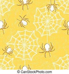 patrón, halloween, seamless, arañas