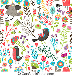 patrón, hand-drawn, flores, aves, seamless