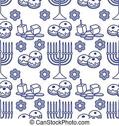 patrón, hanukkah, vacaciones judías, vector, seamless