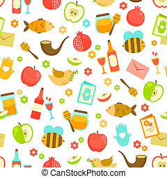 patrón, hashanah, rosh, colorido