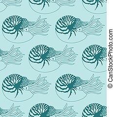 patrón, hecho, nautilus, seamless, pompilius
