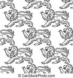 patrón, heráldico, leones, contorno, seamless