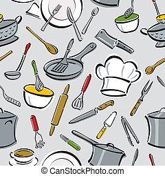 patrón, herramientas, cocina