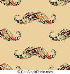 patrón, hipster, bigote, colorido, seamless