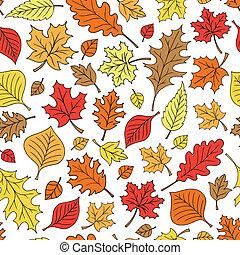 patrón, hoja, seamless, follaje, otoño