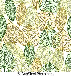 patrón, hojas, contorno, otoñal, seamless