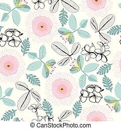 patrón, hojas, fondo., plumeria, flores blancas, gerbera