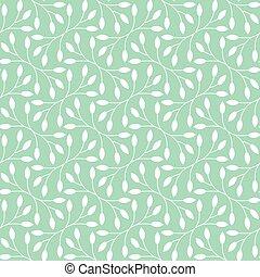 patrón, hojas, plano de fondo, seamless, cerceta