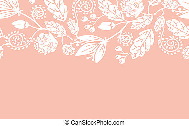 patrón, hojas, seamless, boda, horizontal, flores, frontera