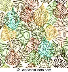 patrón, hojas, seamless, otoñal