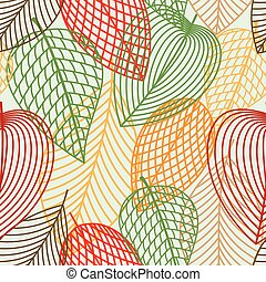 patrón, hojas, seamless, otoñal, contorno