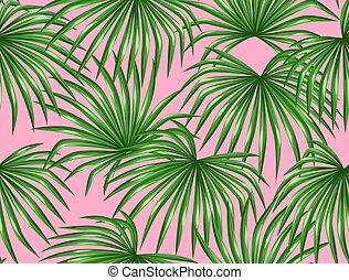 patrón, hojas, seamless, palmas