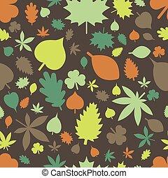 patrón, hojas, seamless