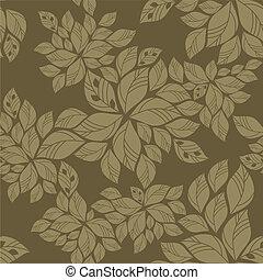 patrón, hojas, verde, seamless