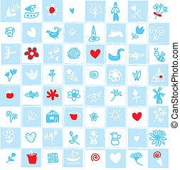 patrón, holanda, azul, delfts, flores, seamless, objetos