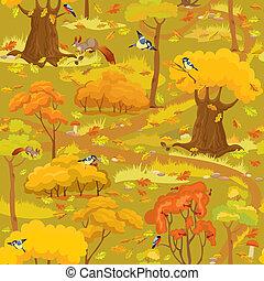 patrón, hongos, árboles, seamless, -, paisaje, bosque, otoño
