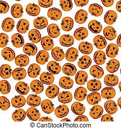 patrón, ilustración, tema, grande, coloreado, halloween