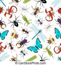 patrón, insecto, animales, seamless, colorido
