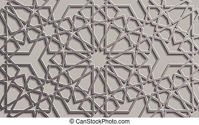 patrón, islámico, estilo, plano de fondo, seamless, 3d