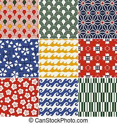 patrón, kimono, seamless, japonés