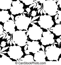 patrón, laconic, flores, peonía, seamless