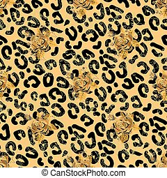 patrón, leopardo, seamless, rosas, skin., inglés
