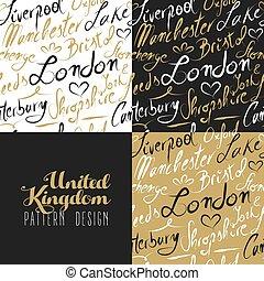 patrón, londres, texto, viaje, oro, seamless, reino unido, ...