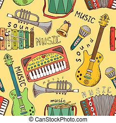 patrón, música, seamless