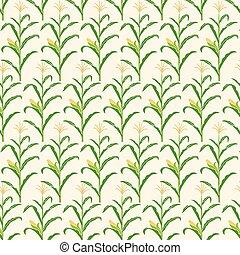 patrón, maíz, ilustración, vector, tallo, plano de fondo