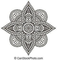 patrón, mandala., ornamento, redondo
