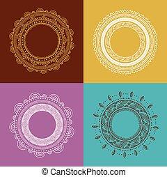 patrón, mandala, plano de fondo, tribal, redondo, ornamento, bohemio