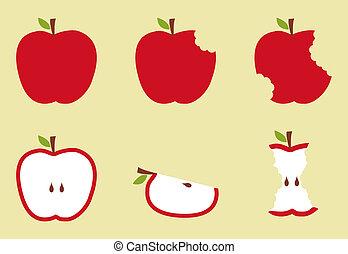 patrón, manzana, ilustración, rojo