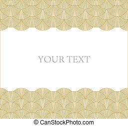 patrón, marco, curva, onda, vector, oriental