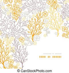 patrón, marco, mágico, plano de fondo, floral, esquina