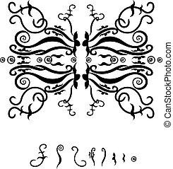patrón, marco, negro
