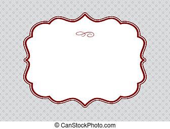 patrón, marco, vector, rojo, florido