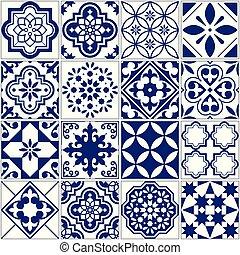 patrón, marina, azulejos, conjunto, floral, azul, mosaico, ...
