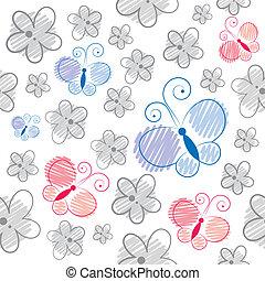 patrón, mariposas, caricatura