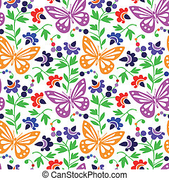 patrón, mariposas, colorido