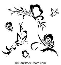 patrón, mariposas, flor