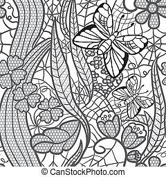 patrón, mariposas, flores, seamless, de encaje
