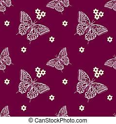 patrón, mariposas, seamless
