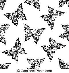 patrón, mariposas, vuelo, contorno, seamless
