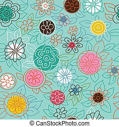 patrón, moderno, floral