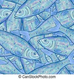 patrón, muchos, arenque, seamless, pez, plano de fondo