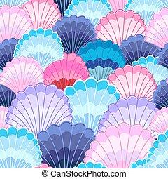 patrón, multicolor, conchas marinas