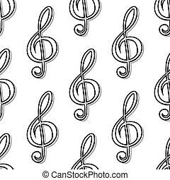 patrón, musical, contorno, clefs, seamless