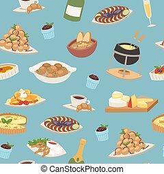 patrón, nacional, menú, alimento, francia, seamless, ...