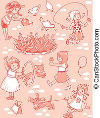 patrón, niñas, seamless, juego